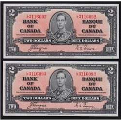 1937 Bank of Canada $2 Consecutive Pair.