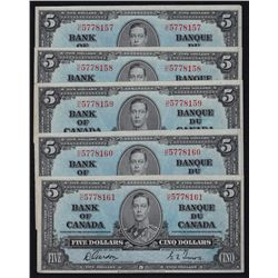 1937 Bank of Canada $5 Lot of 5 Consecutive.