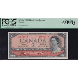 1954 Bank of Canada Devil's Face $2.