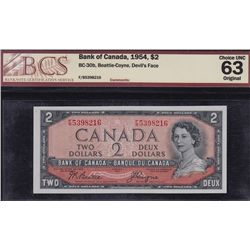 1954 Bank of Canada $2 Devil's Face.