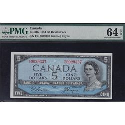 1954 Bank of Canada $5 Devil's Face.