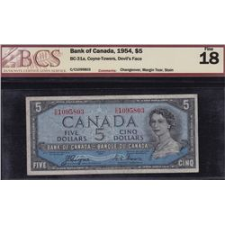 1954 Bank of Canada $5 & $10 Devil's Face Banknotes.