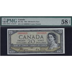 1954 Bank of Canada $20 Devil's Face.