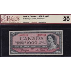 1954 Bank of Canada $1000 Devil's Face.