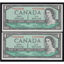 1954 Bank of Canada $1 Consecutive Pair.