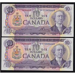 1971 Bank of Canada $10 Consecutive Pair.