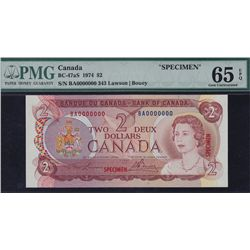 1974 Bank of Canada $2 Specimen.