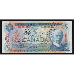 1972 Bank of Canada $5 Specimen.