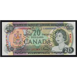 1969 Bank of Canada $20 Specimen.