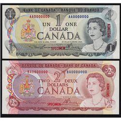 1969-1979 Multicolour Bank of Canada Specimen Note Set.