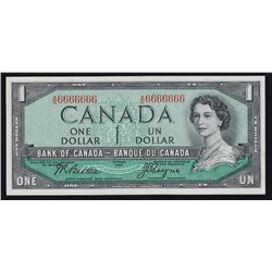 1954 Bank of Canada $1 One Digit Solid Number.
