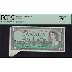 1954 Bank of Canada $1 Cutting Error.