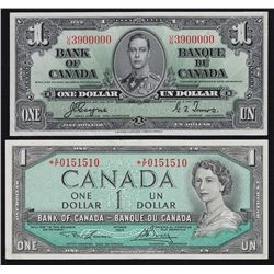 Lot of Two Bank of Canada $1 Notes.
