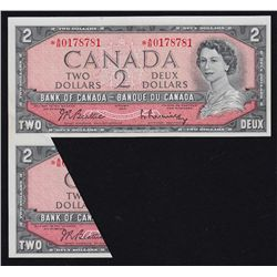1954 Bank of Canada $2 Rare Replacement fold-cut Error Note.