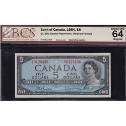 1954 Bank of Canada $5 Ascending Ladder Note.