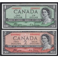1954 Bank of Canada Devil's Face Matching Serial Number Set.