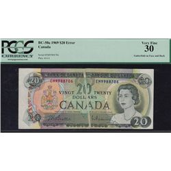 1969 Bank of Canada $20 Gutterfold.