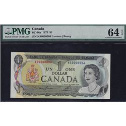 1973 Bank of Canada $1 Low Serial Number.