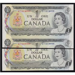1973 Bank of Canada $1 Cut off size and Out of register.