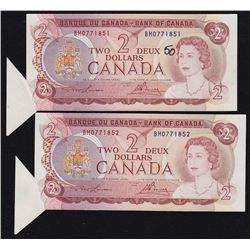 1974 Bank of Canada $2 Sequential Error Pair.