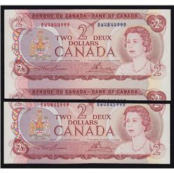 1974 Bank of Canada Cut off size and Out of register $2.