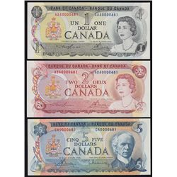 1969-1979 Multicoloured Bank of Canada Set of Seven Matching Serial Numbered Notes.