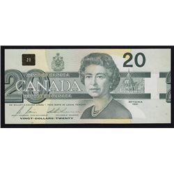 1991 Bank of Canada $20 Out of Register Error Note.