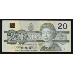 1991 Bank of Canada $20 Mirror Image of a Serial Number Error Note.