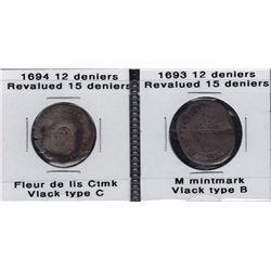 1693 & 1694 Fleur-de-Lis Mintmarked Douzain.