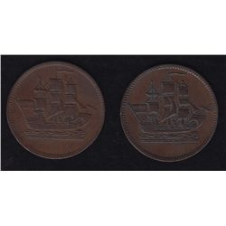 Lot of 2 PEI Colonial Tokens.