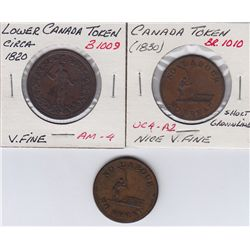 Lot of 3 Colonial Tokens.