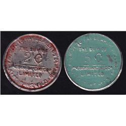 Lot of 2 Newfoundland Trade Tokens.
