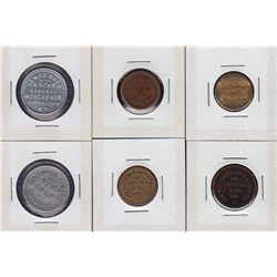 Lot of 6 Nova Scotia Trade Tokens.