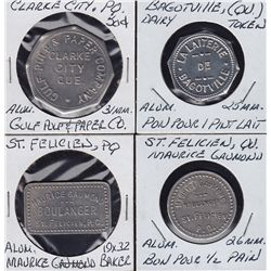 Lot of 4 Quebec Trade Tokens.