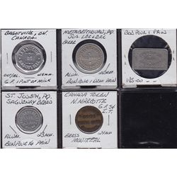 Lot of 5 Quebec Trade Tokens.
