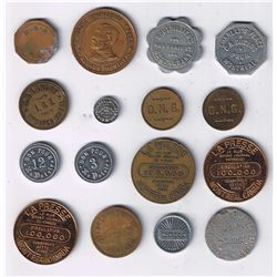 Lot of 16 Quebec trade tokens.