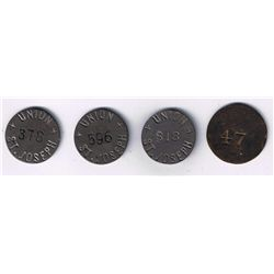 Lot of 4 incused Union St Joseph tokens.