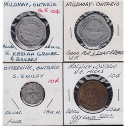 Lot of 4 Ontario Trade Tokens.