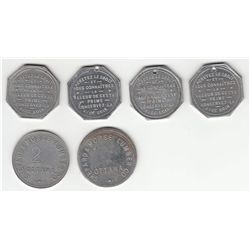 Lot of 6 Ottawa Tokens.