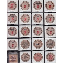 Lot of 134 Wooden Nickels.