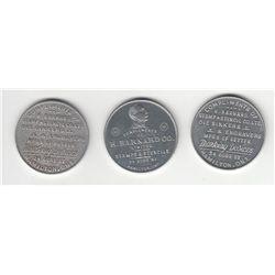 Lot of 3 H. Barnard Advertising Medals.