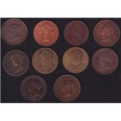 Lot of 10 Colonial Tokens