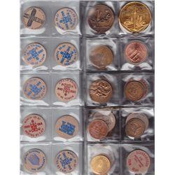 Lot of 58 Wooden Nickels/Medallions/Trade Dollars