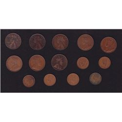 Lot of 14 Newfoundland One Cents