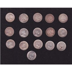 Lot of 16 Newfoundland Five Cents