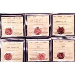 Lot of 6 ICCS Graded One Cents
