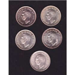 Lot of 5 Mint State Ten Cents