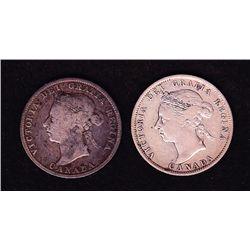 Lot of 2 1886 Twenty Five Cents