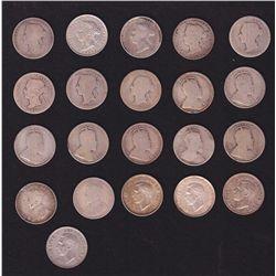 Lot of 21 Twenty Five Cents