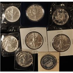 Lot of 8 One oz Silver Coins